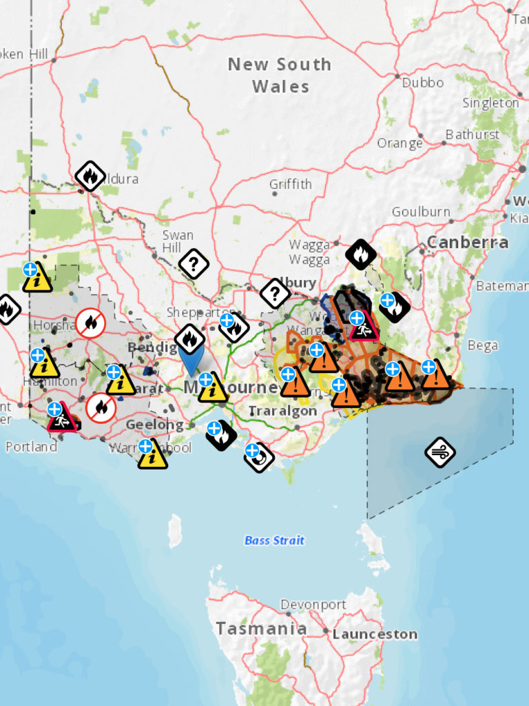 Map of Vic fires 3 Jan 2020